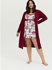Dark Red Waffle Hooded Sleep Cardigan, BURGUNDY, hi-res