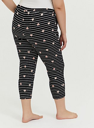 Plus Size Black Stripe Heart Drawstring Crop Sleep Pant, MULTI, alternate