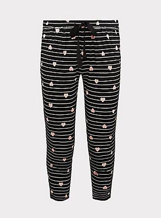 Plus Size Black Stripe Heart Drawstring Crop Sleep Pant, MULTI, flat