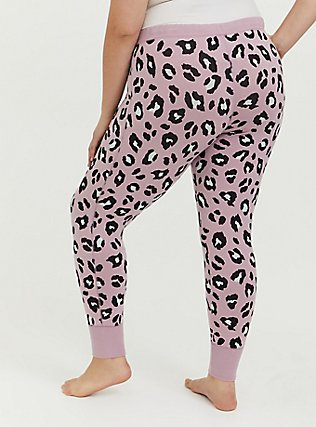 Plus Size Light Lavender Purple Leopard Drawstring Sleep Pant, MULTI, alternate