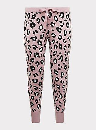 Plus Size Light Lavender Purple Leopard Drawstring Sleep Pant, MULTI, flat
