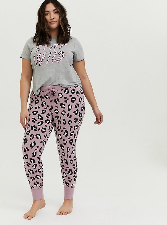 Light Lavender Purple Leopard Drawstring Sleep Pant, MULTI, hi-res
