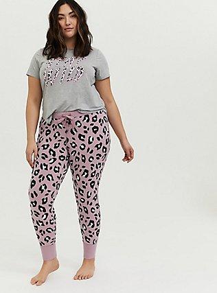 Plus Size Light Lavender Purple Leopard Drawstring Sleep Pant, MULTI, hi-res