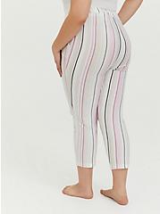 Ivory Multi Stripe Drawstring Crop Sleep Pant, MULTI, alternate