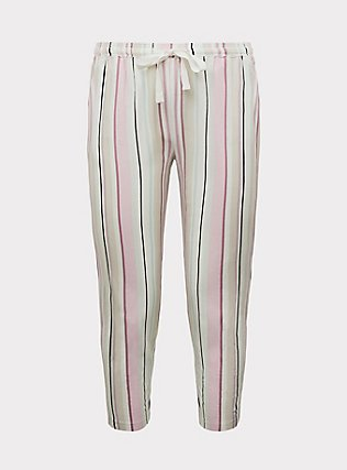 Ivory Multi Stripe Drawstring Crop Sleep Pant, MULTI, flat