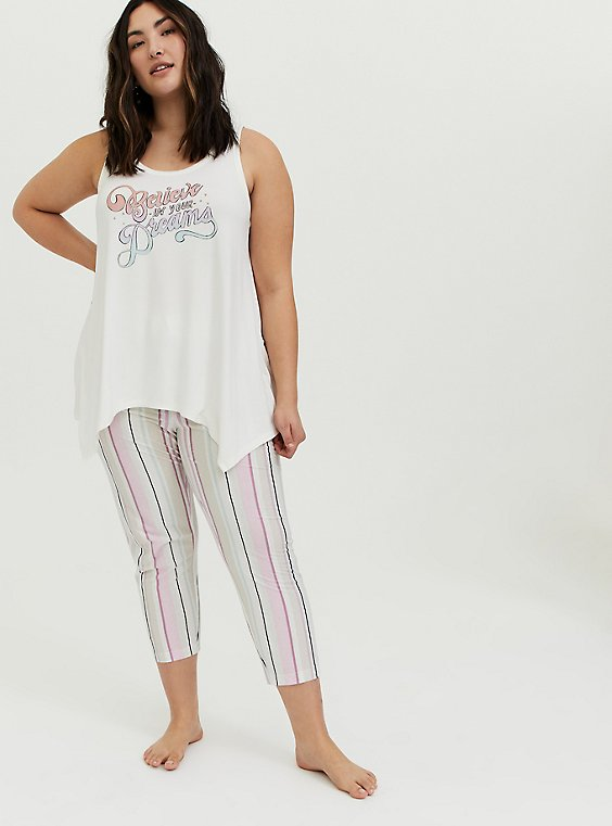 Ivory Multi Stripe Drawstring Crop Sleep Pant, , hi-res