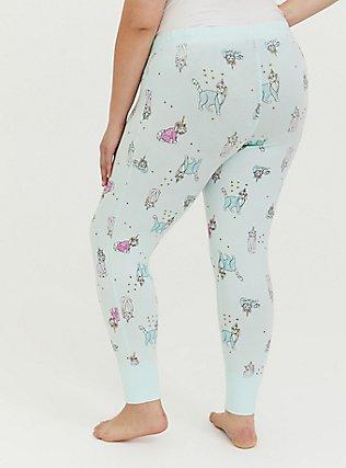 Plus Size Mint Green Dogs & Cats Unicorn Print Drawstring Sleep Pant, MULTI, alternate