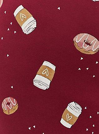 Plus Size Burgundy Coffee Drawstring Sleep Pant, MULTI, alternate