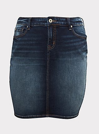 Denim Mini Skirt - Dark Wash , KEEP IT 100, flat