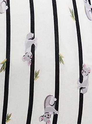 White & Black Stripe Koala Cotton Crop Sleep Pant, MULTI, alternate