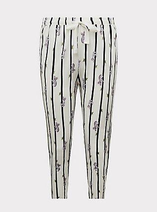 White & Black Stripe Koala Cotton Crop Sleep Pant, MULTI, flat