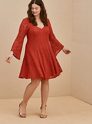 Plus Size Red Terracotta Lace Bell Sleeve Mini Trapeze Dress, RED, alternate