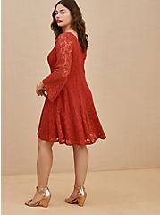 Plus Size Red Terracotta Lace Bell Sleeve Fluted Mini Dress, RED, alternate