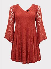 Plus Size Red Terracotta Lace Bell Sleeve Fluted Mini Dress, RED, hi-res