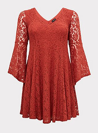 Plus Size Red Terracotta Lace Bell Sleeve Mini Trapeze Dress, RED, flat