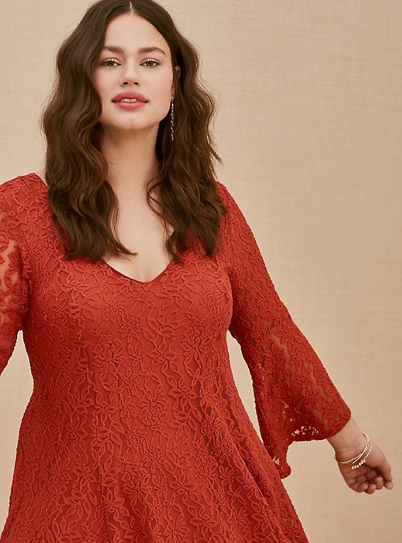 Red Terracotta Lace Bell Sleeve Mini Trapeze Dress, , hi-res