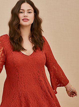 Plus Size Red Terracotta Lace Bell Sleeve Mini Trapeze Dress, RED, hi-res
