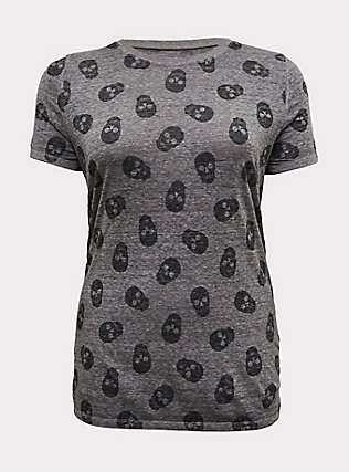 Classic Fit Crew Tee - Vintage Burnnout Skull Heathered Grey, SKULL - BLACK, flat
