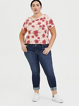 Plus Size Classic Fit Crew Tee - Vintage Burnout Rose Peach Pink, FLORAL - RED, alternate