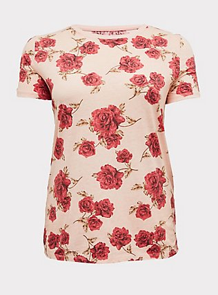 Plus Size Classic Fit Crew Tee - Vintage Burnout Rose Peach Pink, FLORAL - RED, flat