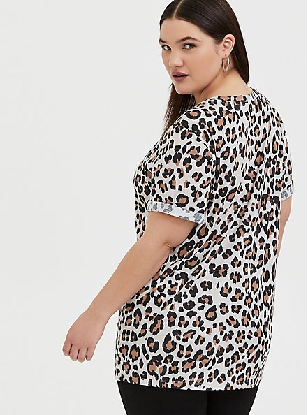 Plus Size Relaxed Fit Crew Tee - Triblend Jersey Leopard, LEOPARD-BROWN, alternate