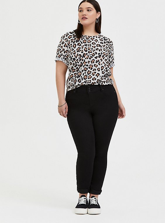 Relaxed Fit Crew Tee - Triblend Jersey Leopard, , hi-res