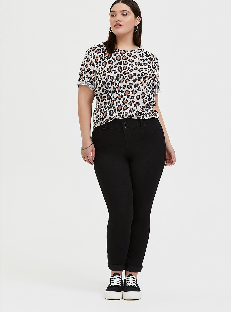 Plus Size Relaxed Fit Crew Tee - Triblend Jersey Leopard, LEOPARD-BROWN, hi-res