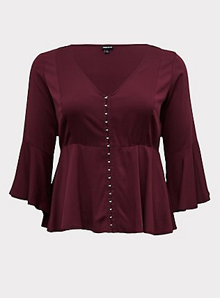 Plus Size Burgundy Purple Challis Bell Sleeve Midi Babydoll Top, WINETASTING, flat