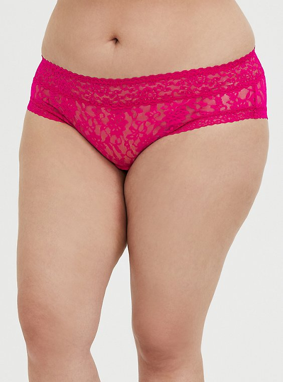Neon Pink Lacey Cheeky Panty, , hi-res