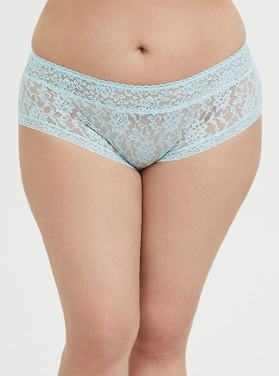 Plus Size Aqua Blue Lacey Cheeky Panty, , hi-res