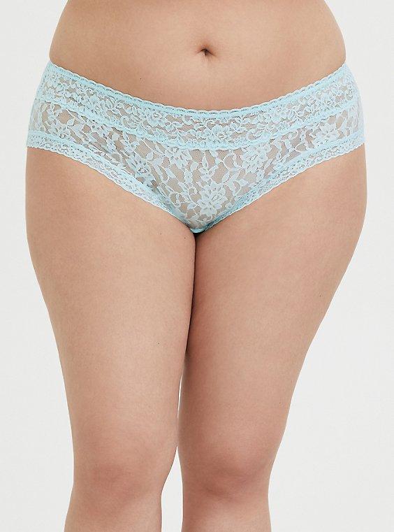 Plus Size Aqua Blue Lacey Hipster Panty, , hi-res