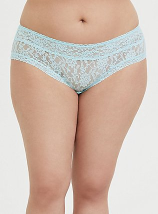 Plus Size Aqua Blue Lacey Hipster Panty, CLEARWATER, hi-res