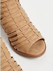 Tan Faux Leather Woven Block Heel (WW), TAN/BEIGE, alternate