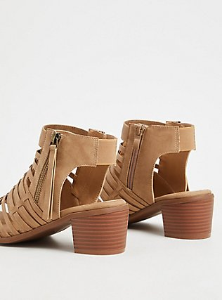 Tan Faux Leather Woven Block Heel (WW), TAN/BEIGE, alternate