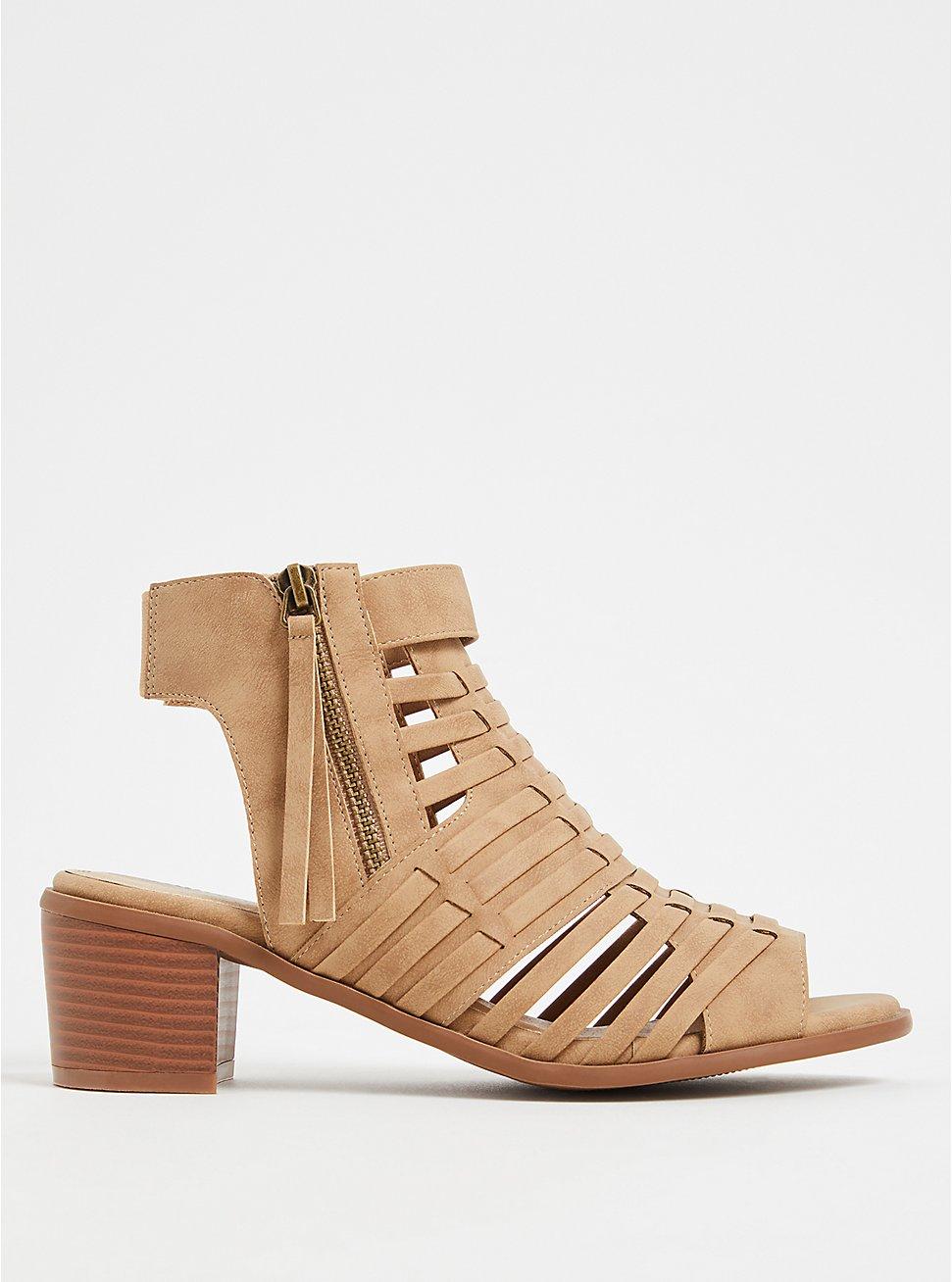 Tan Faux Leather Woven Block Heel (WW), TAN/BEIGE, hi-res