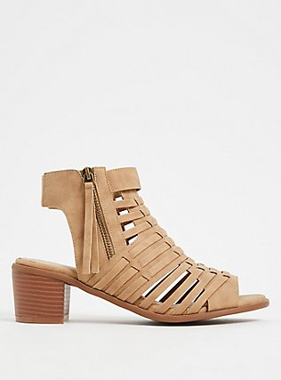 Tan Faux Leather Woven Block Heel (WW), TAN/BEIGE, hi-res
