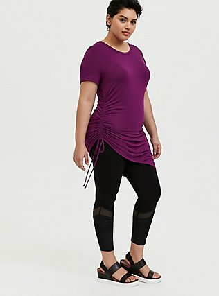 Super Soft Grape Purple Drawstring Side Tunic Tee, DARK PURPLE, alternate
