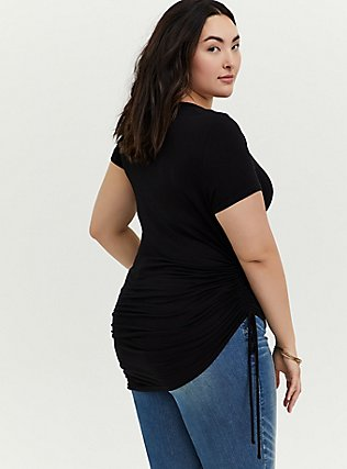 Super Soft Black Drawstring Side Tunic Tee, DEEP BLACK, alternate