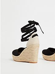 Black Faux Suede Ankle Wrap Espadrille Wedge (WW), BLACK, alternate