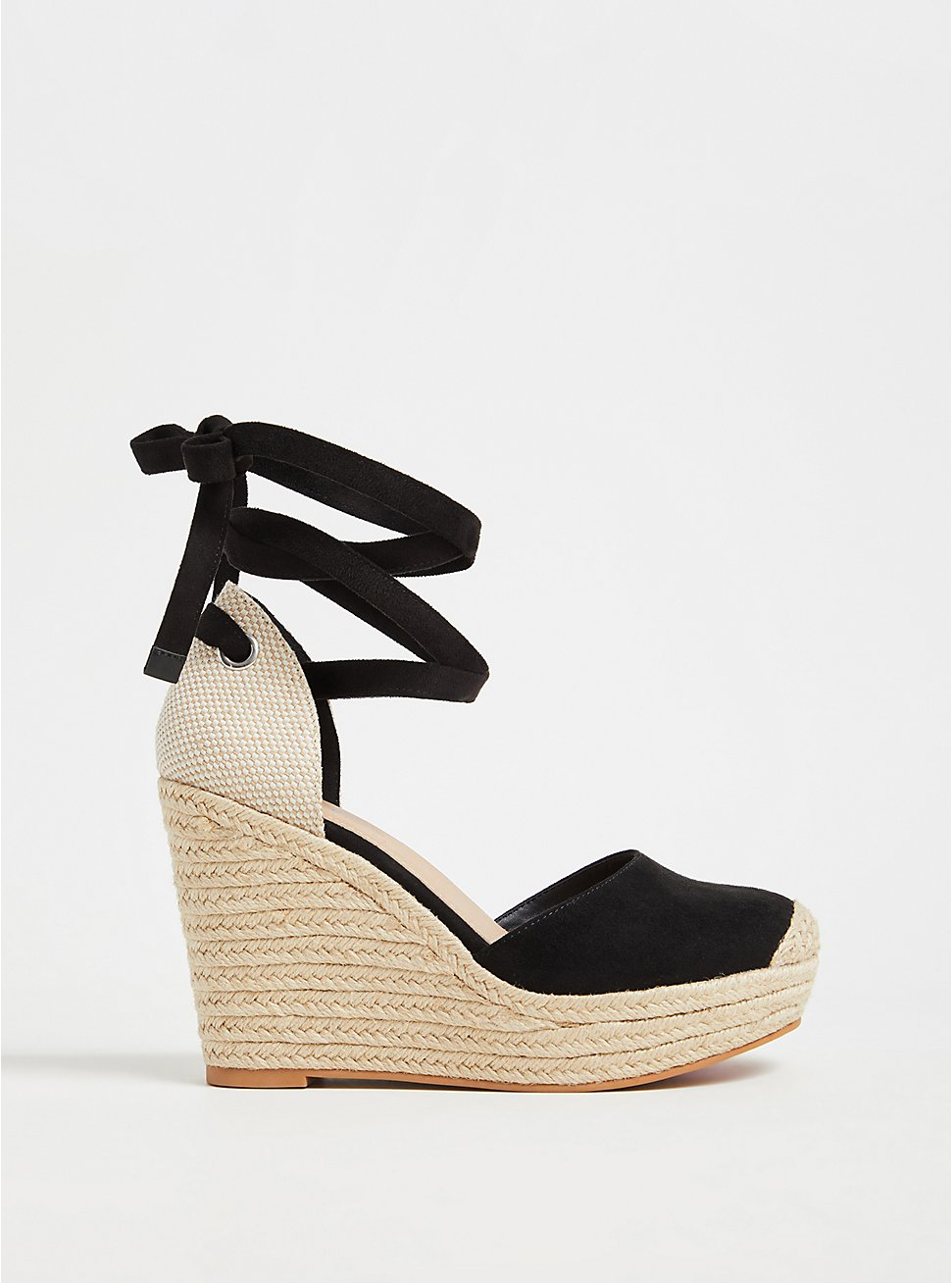 Black Faux Suede Ankle Wrap Espadrille Wedge (WW), BLACK, hi-res
