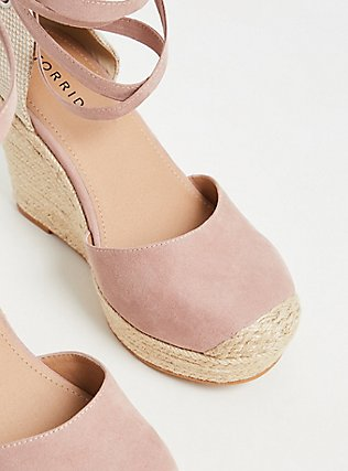 Blush Pink Faux Suede Espadrille Platform Wedge (WW), BLUSH, alternate