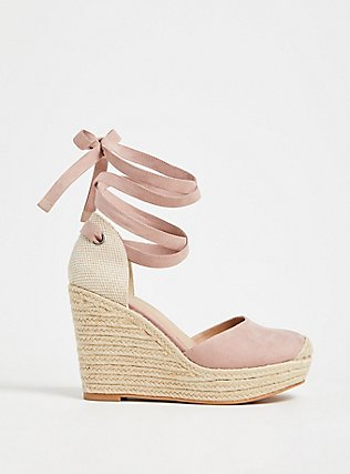 Blush Pink Faux Suede Espadrille Platform Wedge (WW), BLUSH, hi-res