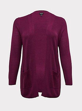 Plum Purple Rib Knit Open Front Cardigan, DARK PURPLE, flat