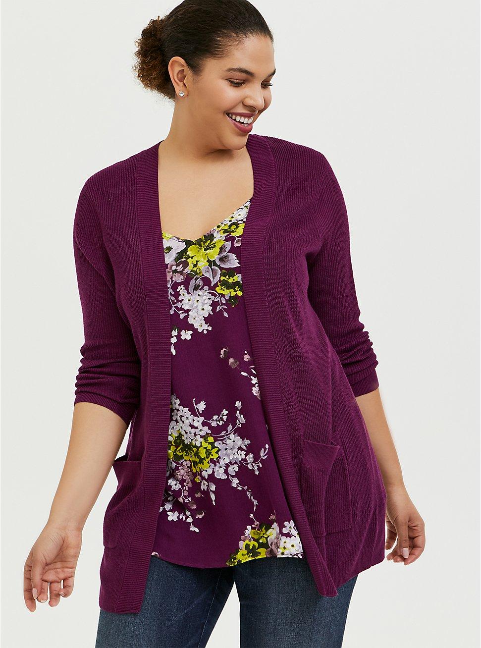 Plus Size Plum Purple Rib Knit Open Front Cardigan, DARK PURPLE, hi-res
