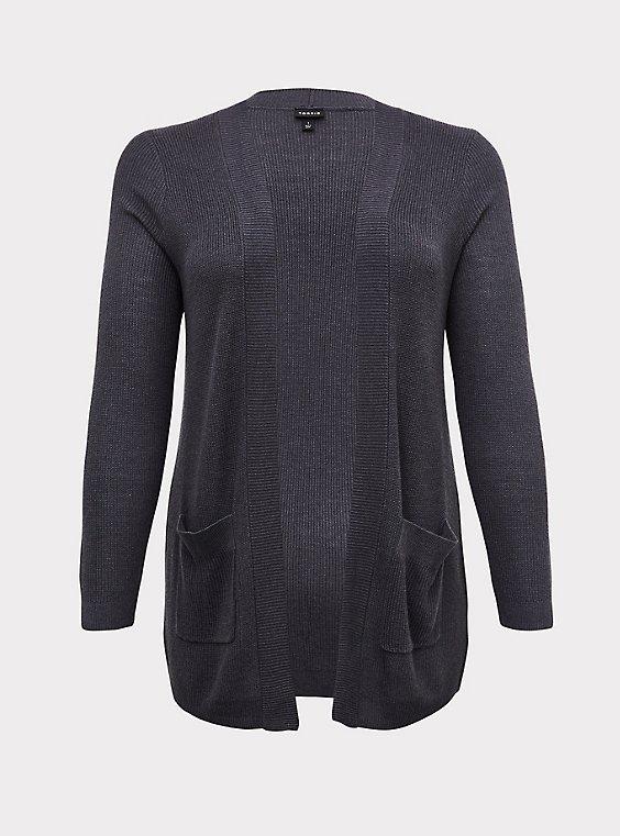 Dark Slate Grey Rib Open Front Cardigan, , flat