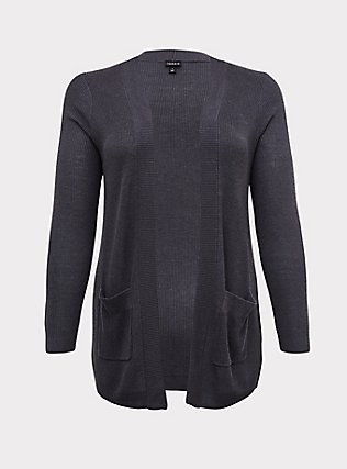 Plus Size Dark Slate Grey Rib Open Front Cardigan, NINE IRON, flat
