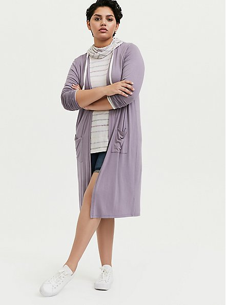 Plus Size Super Soft Slate Grey Longline Cardigan, GRAY RIDGE, alternate