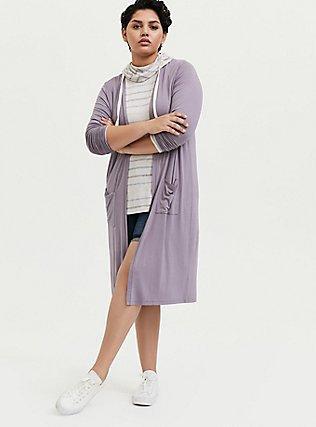 Super Soft Slate Grey Longline Cardigan, GRAY RIDGE, alternate