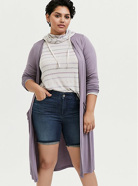 Plus Size Super Soft Slate Grey Longline Cardigan, GRAY RIDGE, hi-res