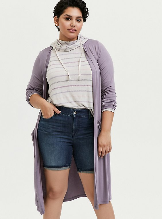 Plus Size Super Soft Slate Grey Longline Cardigan, , hi-res